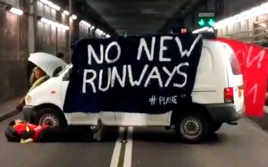 Activists blocking a tunnel leading to Heathrow Photo: Ian Stopher @ianmstopher/Twitter