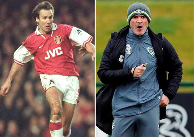 Paul Merson and (right) Roy Keane