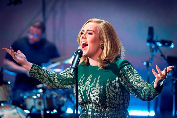 Adele during the filming of Adele at the BBC