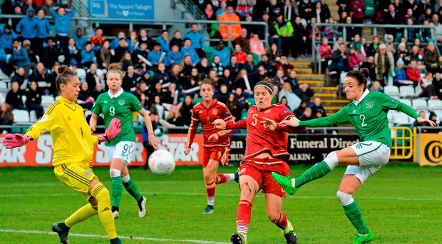 Ireland's Sophie Perry fires an effort on goal during yesterday's Women's EURO 2017 qualifier at Tallaght Stadium