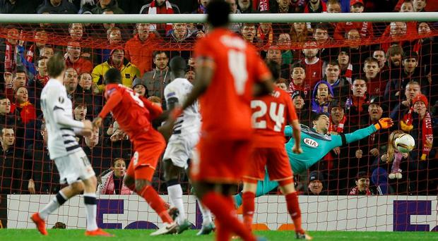 Christian Benteke scores the second goal for Liverpool