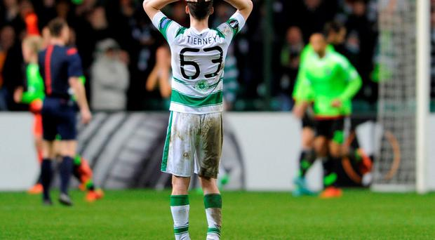 A dejected Kieran Tierney following Celtic's defeat