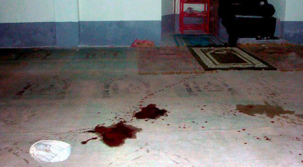 Blood stains are seen on the floor of a Shiite mosque after a shooting in Bogra, some 200 kms from the Bangladesh capital Dhaka on November 26, 2015. At least one man was killed and three others injured as gunmen opened fire on a Shiite mosque in the Shibganj Upazila area of Bogra