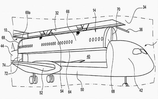 Airbus' patent filing showing how the cabin could be lifted onto the rest of the plane