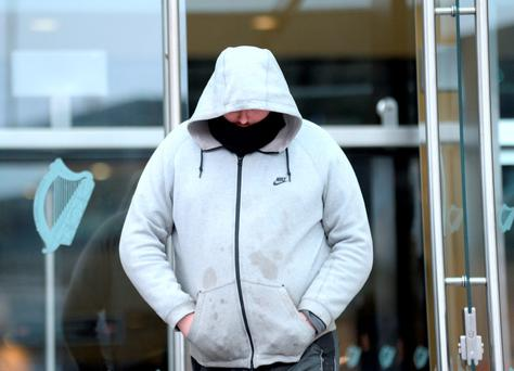 Christopher Coleman (of Reuben Street, Dublin 8, charged with dangerous driving causting death and failure to remain at the scene) leaving CCJ, Parkgate Street, Dublin.