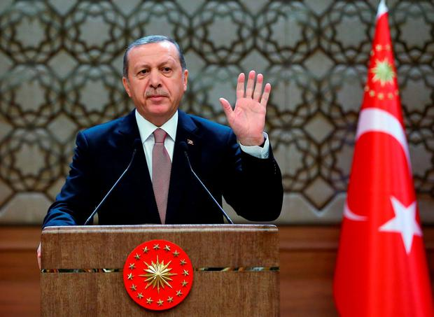 Turkish President Tayyip Erdogan insisting the Russian jet violated its airspace despite repeated warnings Credit: Kayhan Ozer (AP)