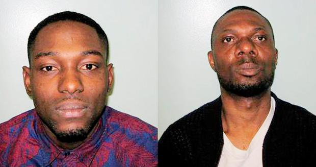 Ife Ojo (left), 31, and Olusegun Agbaje, 43, who have been convicted of duping a woman out of £1.6 million on a dating site after pleading guilty to conspiracy to defraud have had their sentencing adjourned. Photo: Metropolitan Police/PA Wire