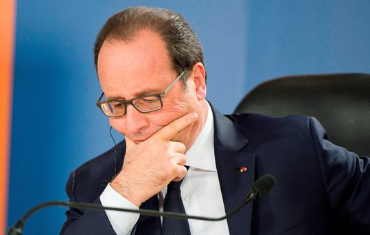 French President Francois Hollande, holds a press conference after the Climate Change special session held during CHOGM (Commonwealth heads of Government meeting), at the Raddison Golden Sands Hotel, Ghajn Tuffieha, Malta, Friday, November, 27 2015 ( AP Photo/Rene Rossignaud)