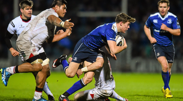 27 November 2015; Garry Ringrose, Leinster, is tackled by Craig Gilroy, Ulster. Guinness PRO12, Round 8, Leinster v Ulster. RDS Arena, Ballsbridge, Dublin. Picture credit: Ramsey Cardy / SPORTSFILE