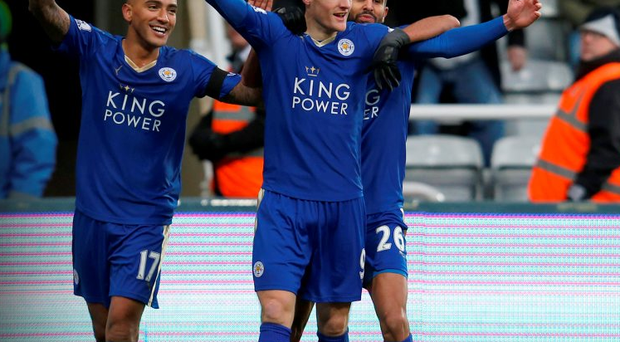 Leicester City's Jamie Vardy (c) celebrates scoring against Newcastle