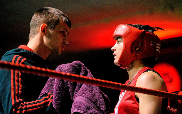 Katie Taylor gets some words of advice from her brother Lee during her 60kg bout at the National Elite Female Championship finals