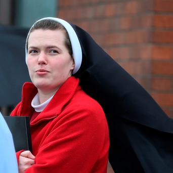 Sister Maria Sidorova of the Redemptoristines Superioress FTB pictured leaving the Four Courts yesterday after a Circuit Civil Court hearing. Pic: Courts Collins