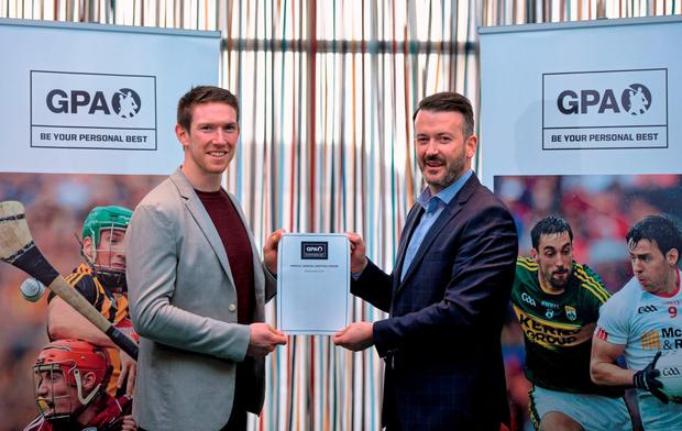 Seamus Hickey, incoming chairman GPA, left, with out-going chairman Donal Óg Cusack, pictured at the Gaelic Players Association AGM and Reps Day. Radisson Hotel, Athlone. Picture credit: Piaras Ó Mídheach / SPORTSFILE