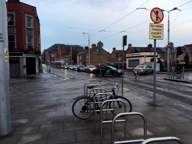 Traffc is directed onto the Red Luas line (Photo: Donal Corkery)