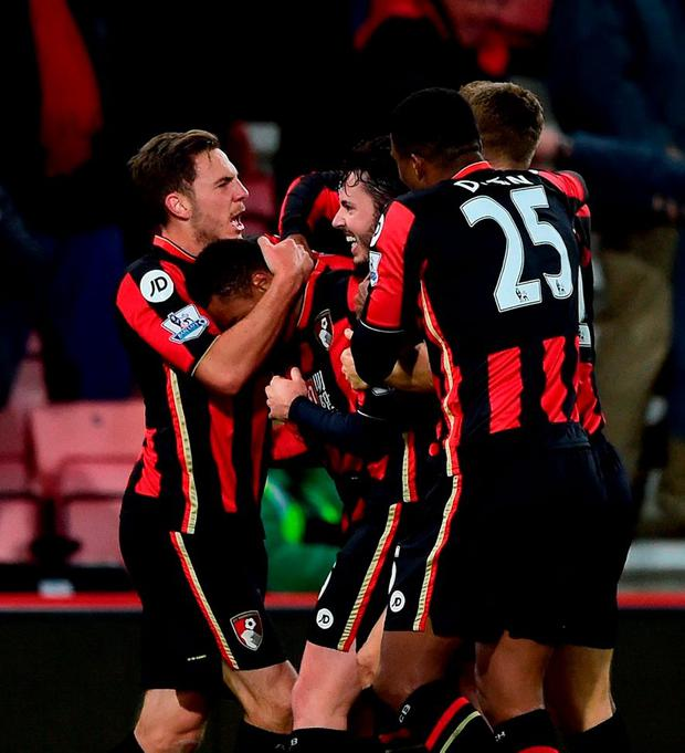 Bournemouth's Junior Stanislas celebrates scoring his team's dramatic late equaliser against Everton yesterday