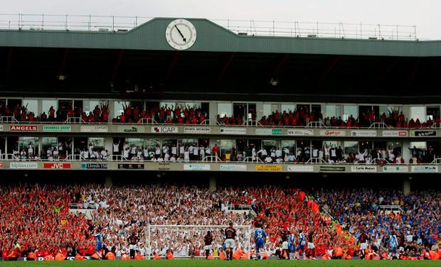 The final whistle goes at the end of Arsenal v Wigan on May 7, 2006, the last match played at Highbury