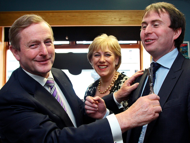 Cutting ties: Sean Conlan in happier times with Taoiseach Enda Kenny and Heather Humphreys TD on a walk-about in Cavan