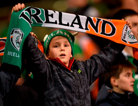 Optimism: A young supporter watches Ireland qualify for the European Football Championships at the Aviva Stadium earlier this month