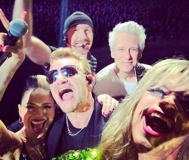A selfie taken on stage last night featuring band members, Imelda May and Panti. Source: U2 Twitter