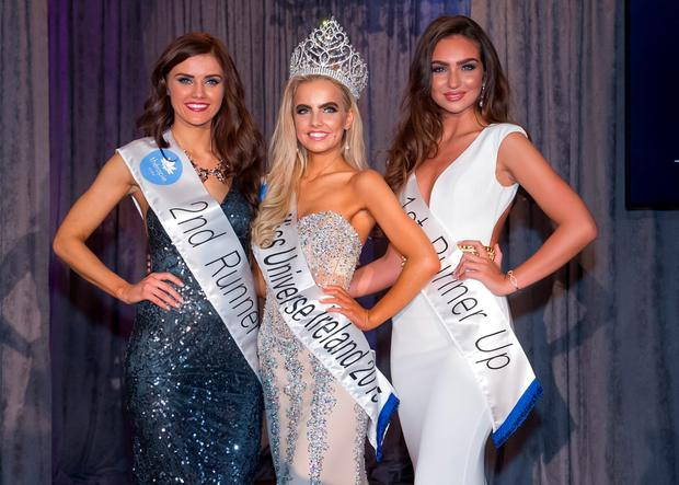 1st Runner Up Shauna Lindsey and 2nd Runner Up Cailín Áine Ní Toibín pictured with Joanna Cooper at the Miss Universe Final in 2015. Picture: Eric Barry/Blink Of An Eye