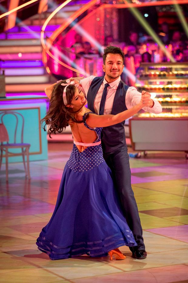 Janette Manrara and Peter Andre during a dress rehearsal for Strictly Come Dancing on BBC1 Photo: Guy Levy/BBC/PA Wire