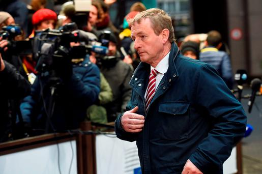 Taoiseach Enda Kenny arrives for a summit on relations between the European Union and Turkey and on the migration crisis at the EU headquarters in Brussels on November 29, 2015. AFP PHOTO / EMMANUEL DUNANDEMMANUEL DUNAND/AFP/Getty Images