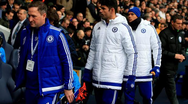 Chelsea's assistant manager Steve Holland (left), Diego Costa and Kenedy (right) before the Barclays Premier League match at the White Hart Lane,