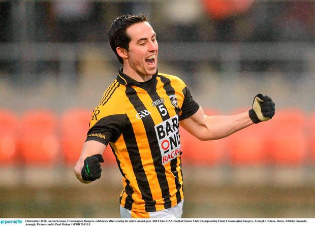 Aaron Kernan of Crossmaglen Rangers celebrates after scoring his side's second goal. Picture credit: Paul Mohan / SPORTSFILE