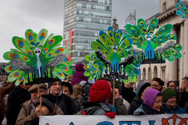 Protesters calling for action on climate change in Dublin today, on the eve of Taoiseach Enda Kenny's address to the UN Climate Summit in Paris. Picture by Fergal Phillips.