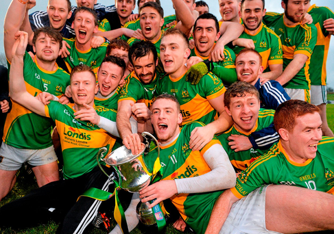 Clonmel Commercials players celebrate after defeating Nemo Rangers in the Munster final
