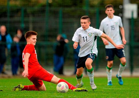 Adam O'Reilly in action for the Republic of Ireland U-15s against Poland in Dundalk last Thursday