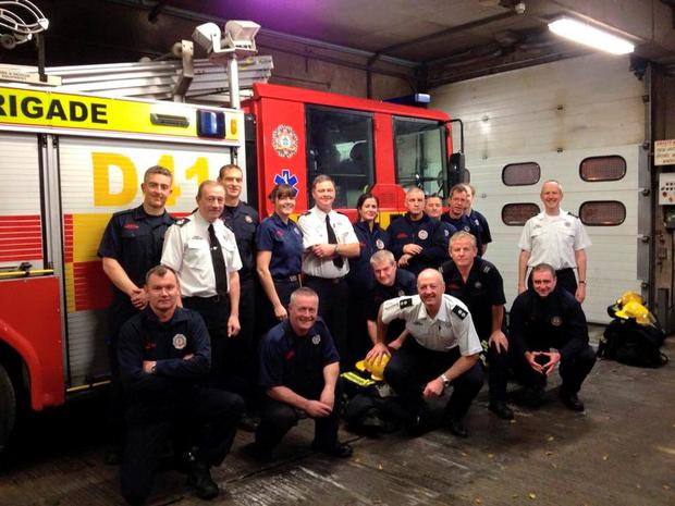 The North Strand crew, Peter Keating is pictured standing in a white shirt in the centre (Photo: Facebook/Dublin Fire Brigade)