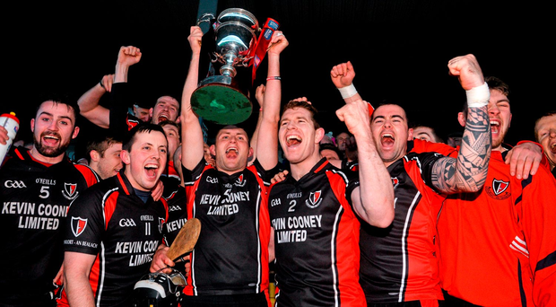 Oulart-The Ballagh captain Barry Kehoe lifts the cup