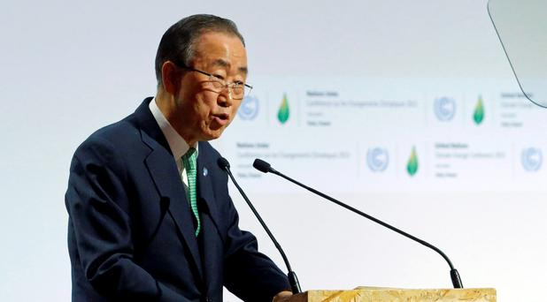 United Nations Secretary General Ban Ki-moon delivers a speech for the opening day of the World Climate Change Conference 2015 (COP21) at Le Bourget, near Paris, France, November 30, 2015. REUTERS/Stephane Mahe