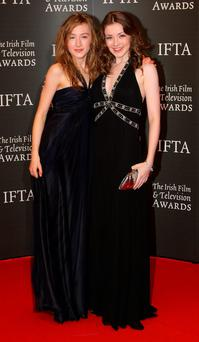 DUBLIN, IRELAND - FEBRUARY 14: Saoirse Ronan and Sarah Bolger arrive at the Irish Film & TV Awards at the Burlington Hotel on February 14, 2009 in Dublin, Ireland. (Photo by Phillip Massey/FilmMagic)