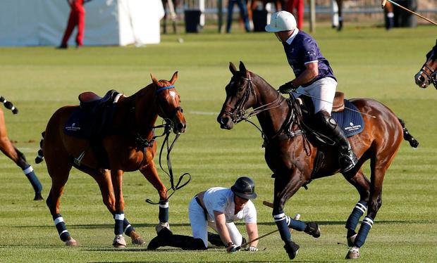 Britain's Prince Harry reacts after falling from his horse during the Sentebale Royal Salute Polo Cup in Paarl