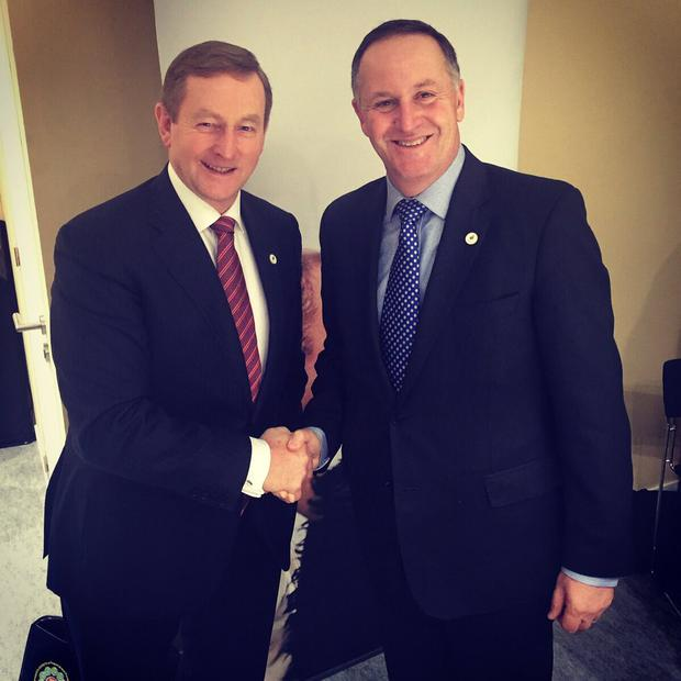 Taoiseach Enda Kenny and New Zealand Prime Minister John Key in Paris today