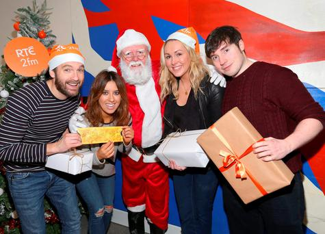 Presenters from Rte 2fm -Keith Walsh Lottie Ryan ,Tracey Clifford and Chris Green withSanta when details were announced of RTÉ 2fm's Xmas Appeal in aid of the ISPCC. PIC: Brian McEvoy