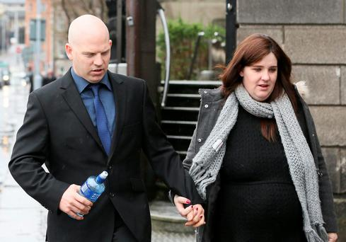 Francis Flynn and Fiona Watters, parents of Jamie Flynn of Tara Court Square, Navan, Co Meath, pictured leaving the Four Courts after a High Court action for damages.Pic: Collins Courts