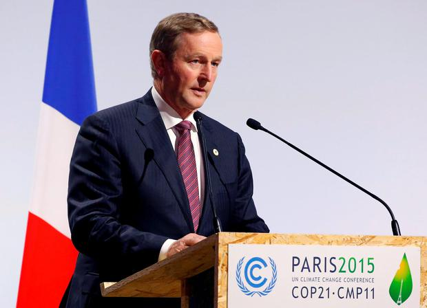 Enda Kenny delivers a speech for the opening day of the World Climate Change Conference 2015
