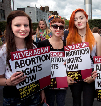 Pro-Choice supporters at a protest over abortion rights last year on Dublin's O'Connell Street. Photo: Tony Gavin