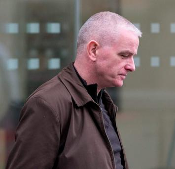 Pascal Burke leaving the inquiry. Photo: Mark Condren