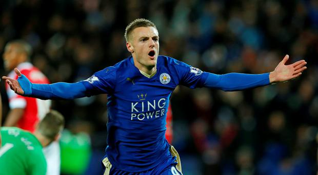 Jamie Vardy's goals have helped keep Leicester near the top of the table since the start of the season