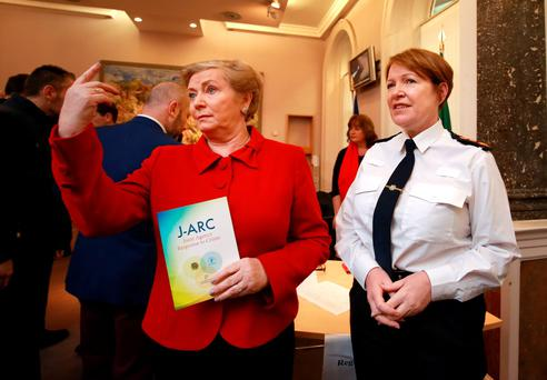 Justice Minister Frances Fitzgerald and Garda Commissioner Noirín O'Sullivan launch the Joint Agency Response to Crime strategy at the Department of Justice. Photo: Frank Mc Grath