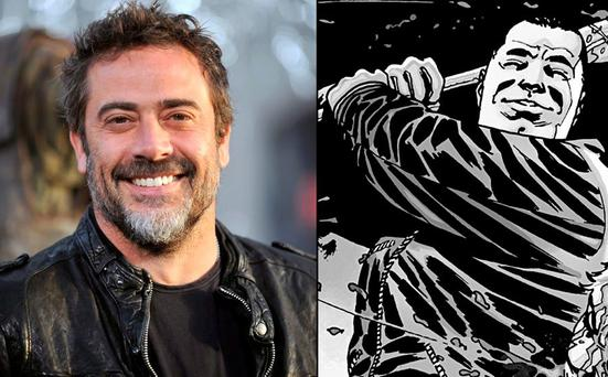 Left, is Jeffrey Dean Morgan, who plays Negan. Right, is the comic version of Negan with his bat, named Lucille. Lucille is wrapped in barbed wire and zombie guts for extra measure.