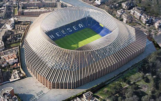 An artists' impression of the futuristic looking new Stamford Bridge