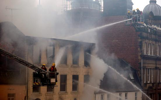 Fire crews at the scene of a fire in Charlotte Square, Newcastle
