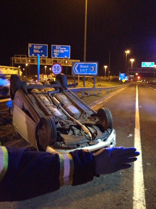 Traffic delays on M50 after car accident closes slip road to M1