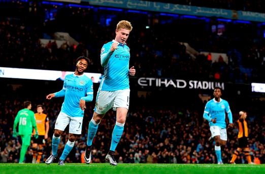 Manchester City's Kevin De Bruyne celebrates scoring his side's third goal of the game.