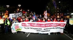 Hundreds march in Dublin city centre last night to mark the anniversary of the death of Jonathan Corrie